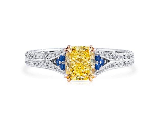 Fancy Yellow Diamond Ring, 1.79 Ct. (2.17 Ct. TW), Cushio... (11614480)