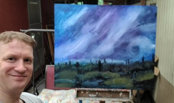 """""""Purple Storm"""" (oil painting on 39"""" x 47"""" board)"""